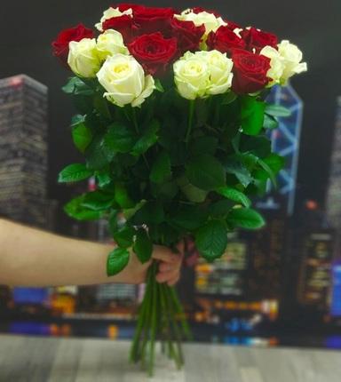 25 роз бело-красных 50 см (Россия)