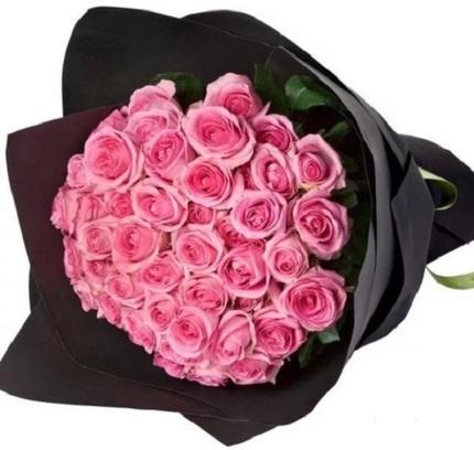Букет 51 розовая роза 80 см (Россия)