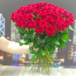 Букет 51 красная роза 60 см (России)
