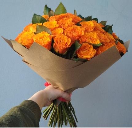 Букет 51 оранжевая роза 80 см (Россия)