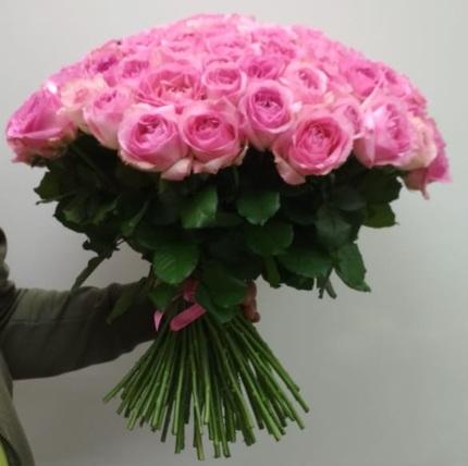 101 розовая роза 80 см (Эквадор)
