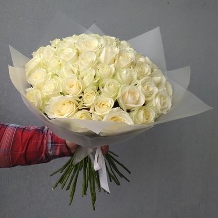 Букет 51 белая роза 70 см (Россия)
