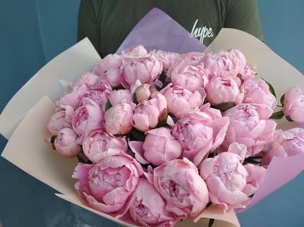 Букет из 15 нежно-розовых пионов