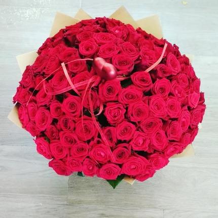 101 красная роза 80 см (Россия)